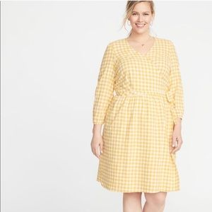 Old Navy Yellow Gingham Linen/Cotton Dress | XL